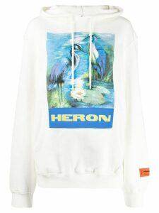 Heron Preston logo print hoodie - White