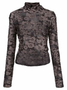 Eckhaus Latta sheer floral top - Black