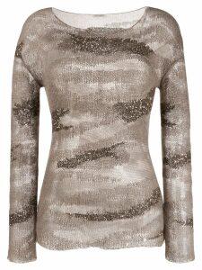 Saint Laurent sequinned striped jumper - Grey