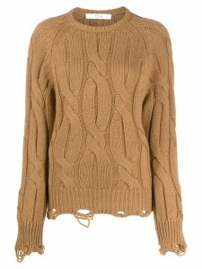 Tela distressed cable-knit jumper - Brown