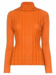 Pleats Please Issey Miyake plissé pleated top - ORANGE