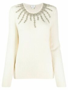 Giambattista Valli crystal-embellished knit sweater - Neutrals