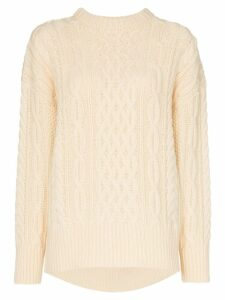 Hyke Fisherman chunky wool knit jumper - NEUTRALS