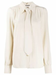 Gucci neck tie blouse - NEUTRALS