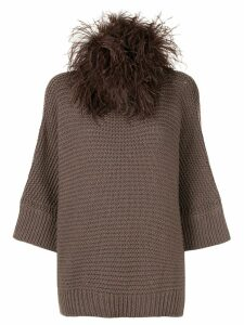 Fabiana Filippi feather trim jumper - Brown