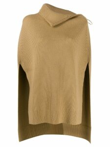 Paco Rabanne roll neck poncho top - NEUTRALS