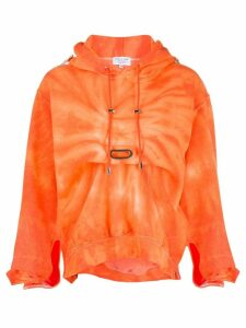 Collina Strada gathered hoodie - ORANGE