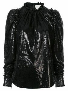 Ingie Paris sequinned puff-sleeve blouse - Black