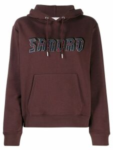 Sandro Paris logo embroidered hoodie - PURPLE