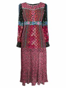 Saloni floral pleated dress - PINK