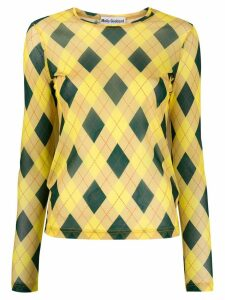 Molly Goddard argyle print T-shirt - Yellow