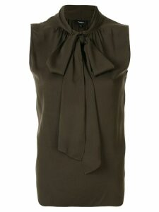 Theory sleeveless pussy bow blouse - Green