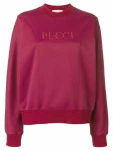 Emilio Pucci Crystal Embellished Logo Sweatshirt - Red