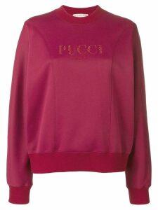 Emilio Pucci Crystal Embellished Logo Sweatshirt - Red