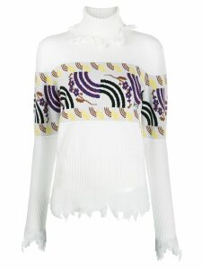 Aalto intarsia-knit turtleneck jumper - White