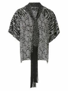 À La Garçonne fringed shawl blouse - Black