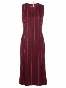 Thom Browne Shadow Stripe Flannel Pencil Dress - Red