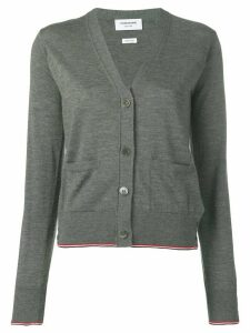 Thom Browne TWB Tipping cashmere cardigan - Grey