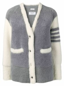 Thom Browne 4-Bar Shearling Cardigan Jacket - Grey