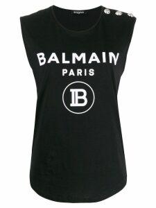 Balmain logo print vest - Black