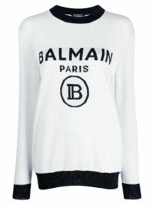 Balmain logo intarsia jumper - White