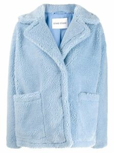STAND STUDIO oversized faux-fur jacket - Blue