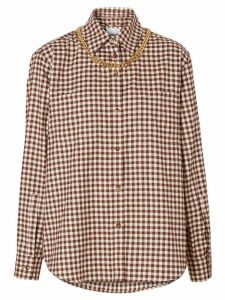 Burberry chain detail gingham shirt - Brown