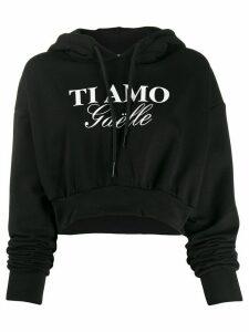 Gaelle Bonheur slogan cropped hoodie - Black