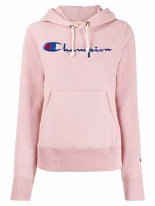 Champion logo drawstring hoodie - PINK
