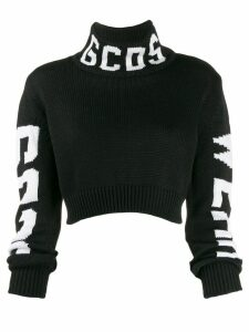 Gcds logo roll-neck sweater - Black