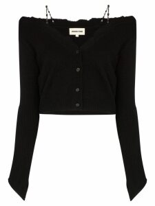 Shushu/Tong off-the-shoulder raw edge cardigan - Black