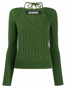 Jacquemus Layered cable-knit jumper - Green