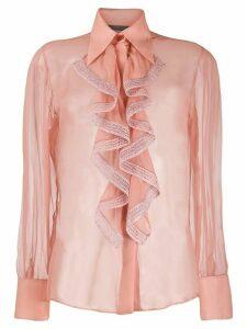 Alberta Ferretti ruffled neck blouse - PINK