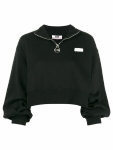 Gcds logo patch cropped sweatshirt - Black