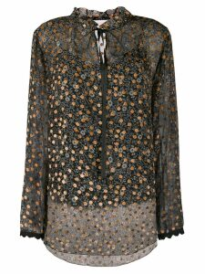 See By Chloé velvet-flocked floral-print blouse - Black