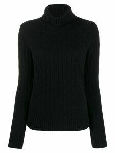 N.Peal cable roll neck sweater - Black