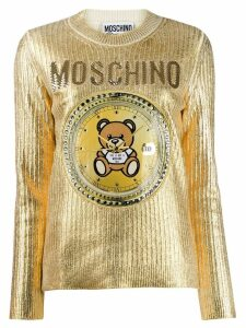 Moschino Teddy clock embroidered sweater - GOLD