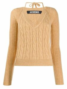 Jacquemus Layered cable-knit jumper - NEUTRALS