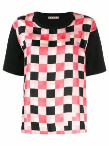 Marni checked panel T-shirt - Black