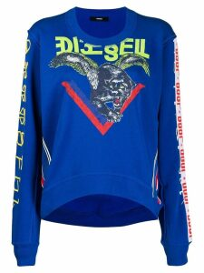 Diesel cut-out printed sweatshirt - Blue