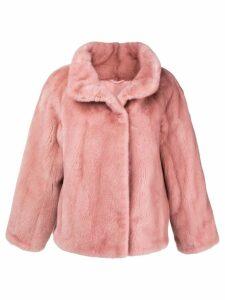 Liska stand-up collar fur jacket - Pink