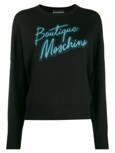 Boutique Moschino logo embroidered sweater - Black