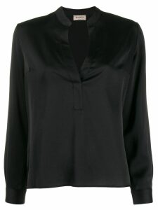 Blanca Vita split neck blouse - Black