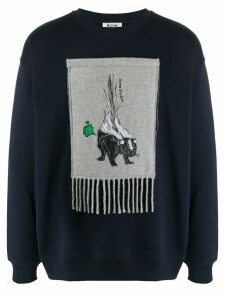 Acne Studios animal embroidered patch sweatshirt - Blue