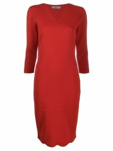 D.Exterior fitted knit dress - Red