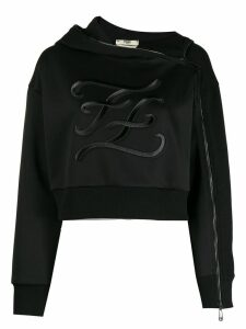 Fendi embroidered FF hoodie - Black