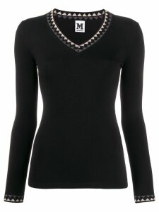 M Missoni zig-zag trim knitted top - Black