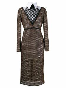 Fendi double-layered macramé dress - Black
