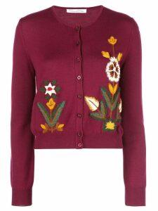 Oscar de la Renta floral embroidery cardigan - Red