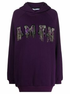 Amen sequin embroidered hoodie - PURPLE